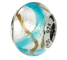 Prerogatives Sterling Blue & Gold Italian Murano Glass Bead