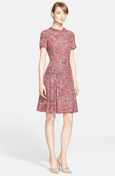 Multicolor, red hue tweed work dress with nude heels. Pair with black tights and black blazer for a formal tweed winter look.