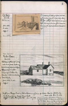 """The Sketchbooks of Edward Hopper. Hopper – was a prominent American realist painter and printmaker. Edward Hopper, Arte Sketchbook, Sketchbook Pages, Handwritten Text, Drawing Sketches, Art Drawings, Sketching, Artist Journal, Colors"