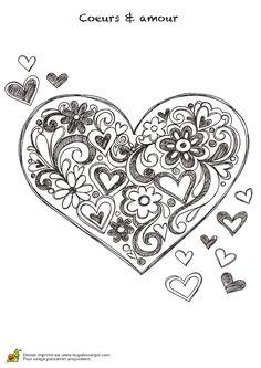 Pour la fête des parents, ce mandala cœur avec fleurs et cœurs à l'intérieur est à colorier