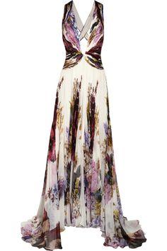 ROBERTO CAVALLI Lace Insert Ruffle Long Dress. #robertocavalli ...