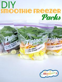 DIY Smoothie Freezer PacksOnce a week I like to make a few smoothie freezer packs so that we have ready made smoothies for the rest of the week. You put everything you would want in your smoothie, excluding the liquid base, which you add when you are going to make the smoothie.Freezing the spinach or other greens has no effect on the taste of the smoothie, or on its nutritional value.  Now you can make your favorite smoothie recipe and make it into a freezer ready pack.DIY Smoothie Freezer…