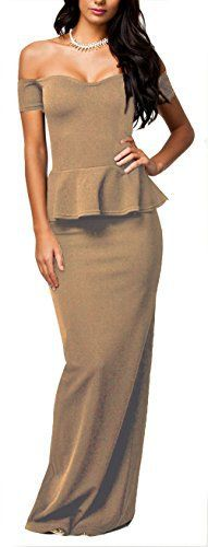 New Trending Formal Dresses: NuoReel Womens Drop shoulder Peplum Maxi Evening Dress (XX-Large, Beige). NuoReel Women's Drop shoulder Peplum Maxi Evening Dress (XX-Large, Beige)  Special Offer: $16.99  277 Reviews Many women like wearing peplum dresses especially for the cheerful party night. This Black Peplum Evening Dress with Drop Shoulder is a maxi peplum dress that is...
