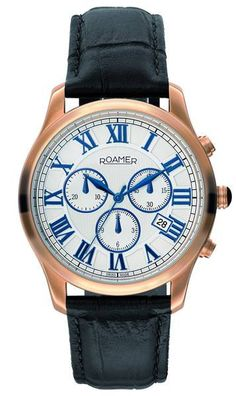Roamer Gents Osiris Watch Stainless Steel Case and Bracelet White Dial Blue Roman Numerals Sapphire Crystal Chronograph Water Resistant Anti Reflection Crystal Model Number 530837 41 12 50 Gents Watches, Fine Watches, Rolex Watches, Watches For Men, Swiss Made Watches, Platinum Engagement Rings, Stainless Steel Watch, Rose Gold Plates, Diamond Rings