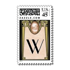 Nouveau Cameo - These Art Nouveau inspired Postal Stamps designed by Leslie Sigal Javorek (a.k.a. 'IconDoIt') are so elegant and feminine, you'll be tempted to use them for wedding invitations - but they're also perfect for your everyday mail. Monogram is customizable. See our Nouveau Cameo wedding items at: http://www.zazzle.com/icondoit/cameo+gifts?rf=238155573613991097