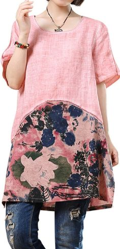 US$ 19.90 O-NEWE Brief Short Sleeves Patchwork Printed Dresses For Women