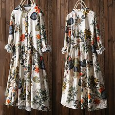 Leaves Floral Print Pleated Long Sleeve Vintage Dress is high-quality, see other cheap summer dresses on NewChic Mobile. Plus Size Vintage, Plus Size Blouses, Plus Size Dresses, Long Sleeve Vintage Dresses, Vestidos Retro, Robes Vintage, Cheap Summer Dresses, Muslim Fashion, Chinese Style
