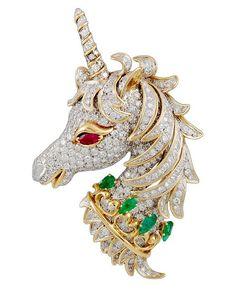Yafa Jewelry Inc. - DAVID WEBB Diamond, Emerald, Ruby Unicorn Pin