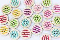 Striped Wooden Button Line Pattern Wood by boysenberryaccessory