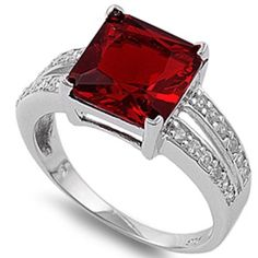 Simulated Garnet  White Cubic Zirconia 925 Sterling Silver Ring Size 10 *** Find out more about the great product at the image link.