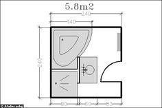 Surface de 5.8m² : douche + baignoire d'angle - 18 plans de salle de bains de 5 à 11 m² - CôtéMaison.fr