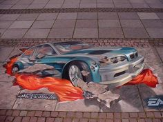 """Need for Speed"" by Edgar Müller, a German artist who developed a special and amazing talent for pavement paintings, turning the street into a real studio."