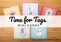 Simple 3x3 mini cards using Time for Tags host stamp set from Stampin' Up!. Visit www.iStampin.com to learn more. Baby Time, Stampin Up, Paper Crafts, Tags, Learning, Simple, Mini, Projects, Foil Stamping