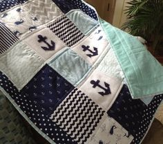 Anchor quilt in Soft blues white and navy with by Lovesewnseams