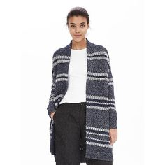 Banana Republic Womens Multi Stripe Sweater Coat (195 NZD) ❤ liked on Polyvore featuring outerwear, coats, blanket blue, striped coat, banana republic, white sweater coat, white coat and long sleeve coat