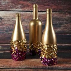 Golden touch sequined bottles