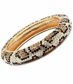 Leopard Pave Swarovski Crystal Hinged Elegant Designer Bangle by Jersey Bling