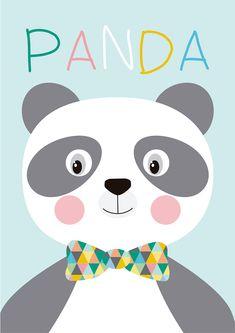 Lámina Panda, Láminas decorativas, láminas cuadros, láminas infantiles, láminas niños, láminas decoración, láminas pared, láminas nórdicas, ilustración, ilustraciones niños, ilustración infantil, habitación bebé, decoración niños