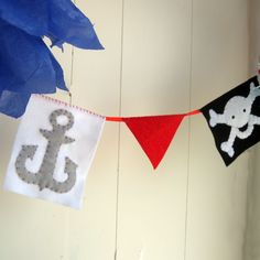 Handmade Felt Pirate Banner...yargh, matey - skull and crossbones - etsy kids - red black and white - READY TO SHIP - pirate room decor. $18.00, via Etsy.