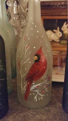Wine Bottle Art, Painted Wine Bottles, Lighted Wine Bottles, Diy Bottle, Painted Wine Glasses, Wine Bottle Crafts, Jar Crafts, Bottle Lights, Decorative Wine Bottles