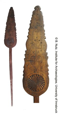 """Distaff from the Salzkammergut, region in Austria, with the Christogram IHS and the year 1824 carved into the wood. Length: 36,22"""""""