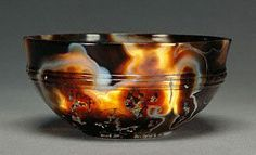 Roman agate bowl (1st/3th century CE) found near Koptos (Egypt). Located on the Nile, Koptos was a stop on the trade route that connected the Arabian Sea and the Mediterranean, on which traveled gemstones and spices from India. On display at the Getty Villa at Malibu, California