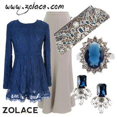 Fashion Combo: Ethereal #Blouse #Muslimah in Blue, Sway with Me #LongSkirt, Clair De Lune #clutch