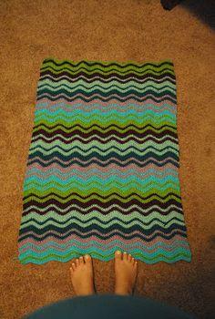 Crocheted ripple baby blanket