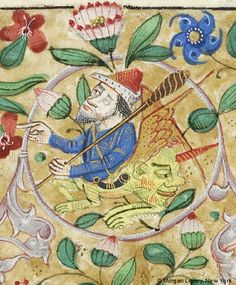 Hybrid man, winged, wearing hat and horn on strap across his breast, with single-horned face on his hindquarters, holding spindle in left hand   Book of Hours   France, Rouen   ca. 1470   The Morgan Library & Museum