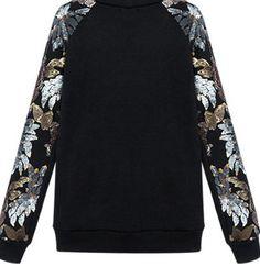 Black Sequins Embellished Floral Leaf Sleeves Sweatshirt
