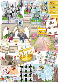 spellen van het spellenpakket ridders en kastelen, kleuteridee. Educational Games For Toddlers, Castle Crafts, Maths Area, Knight Party, Kindergarten Games, Building Games, Who Will Win, Animal Games, First Game