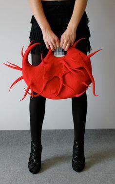 """Felted Handbag """"Red pet"""""""
