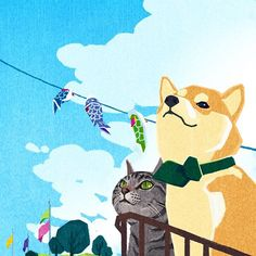 시바이누와 고양이 #painting #art #design #감성 #dog #new #newyear #drawing #illustration #sentimental #character #pet #그림 #animal #sky #cat #cute # couple #yuandtoro by weonhyemin5977