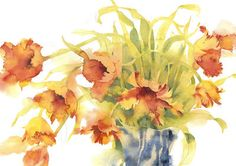 ARTFINDER: French Parrots by Kate Osborne - A celebration of these vibrant long stem tulips in fiery colours, sitting in a vase I've had now for decades, miraculously still unbroken. Since training as . Watercolor Flowers, Watercolor Paintings, Watercolors, Watercolor Artists, Kate Osborne, Parrot Tulips, Bouquet, Vintage Artwork, Paintings For Sale