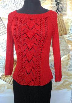Купить Джемпер летний - ярко-красный, орнамент, одежда для женщин, джемпер вязаный, джемпер красный