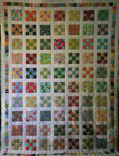 Nine Patch Scrap Quilt. Strip Quilts, Scrappy Quilts, Easy Quilts, Quilt Blocks, Quilting Projects, Quilting Designs, Nine Patch Quilt, Homemade Quilts, Quilt Tutorials
