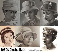 1950s Cloche Hats, bucket hats