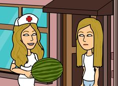 Tina surprises Kelly with a juicy watermelon.