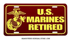 US Marines Retired Novelty License Plate
