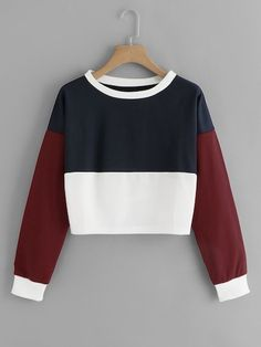 Drop Shoulder Color Block Crop Sweatshirt Women Casual Autumn Round Neck Long Sleeve Clothing Multicolor Pullover Multi S Teen Fashion Outfits, Mode Outfits, Fashion Dresses, Suits Tv Shows, Before Wedding, Cool Hoodies, Sweatshirts Online, Shorts, Clothes For Women