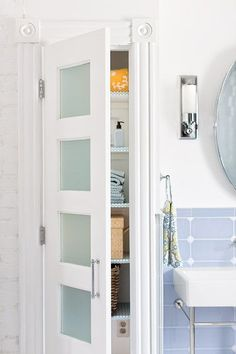 White kitchen cabinets with frosted glass doors shayla 39 s - Bathroom vanity with frosted glass doors ...