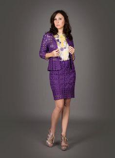 Blue violet exclusive crochet two-piece suit (jacket&skirt)