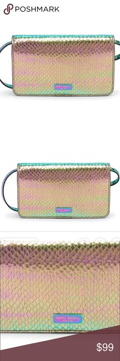 🆕 Henri Bendel XL Smartphone Wallet/Crossbody STUNNING holographic design leather XL phone wallet with removable and adjustable Crossbody strap.  Bill compartment, headphones hole, 5 cc slots etc!  Absolutely gorgeous leather and color. henri bendel Bags Wallets
