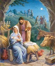 Nativity:  Joseph and Mary with Jesus and animals - villagers outside stable