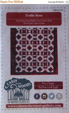 Anniversary Sale Pattern~Trellis Rose~Stunning and Stylish Two-Color Quilt Fast Shipping, PT354