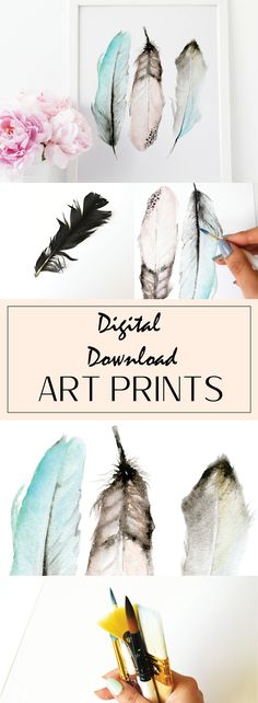 Printable Wall Art, Pastel Feathers, Wall Art, Home Decor