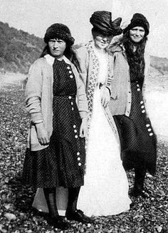 "Grand Duchesses Anastasia and Maria Nikolaevna Romanova of Russia.The lady in the middle looks like their aunt,Princess Irene of Prussia. ""AL"""