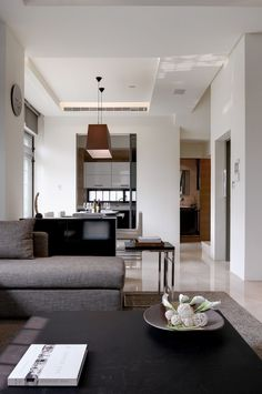 interior, Interior Home Design Ideas White Wall Coffe Table Pendant Lamp Sliding Glass Door Grey Comfortable Sofa Grey Cushion Black Table Grey Carpet Flooring Dining Table Kitchen Cabinet Cream Flooring Clock Wall: Glamorous Apartment with Adaptable Home Style Nuance