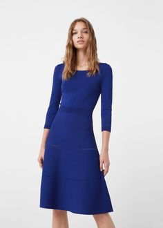 Knitted Fit and Flare Royal Blue Dress Midi Knee Long Quarter Sleeve Viscose Polyamide