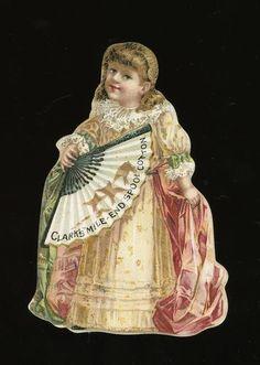 Charming Girl Diecut Victorian Trade Card Clark's Mile End Thread